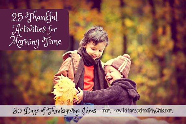 Thankful Ideas Calendar for November MorningTime